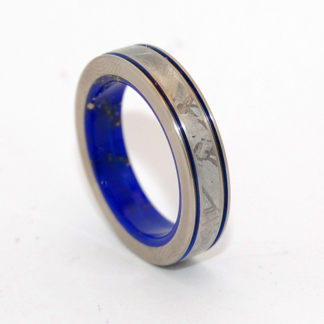 meteorite inlay titanium wedding rings - minter and richter designs