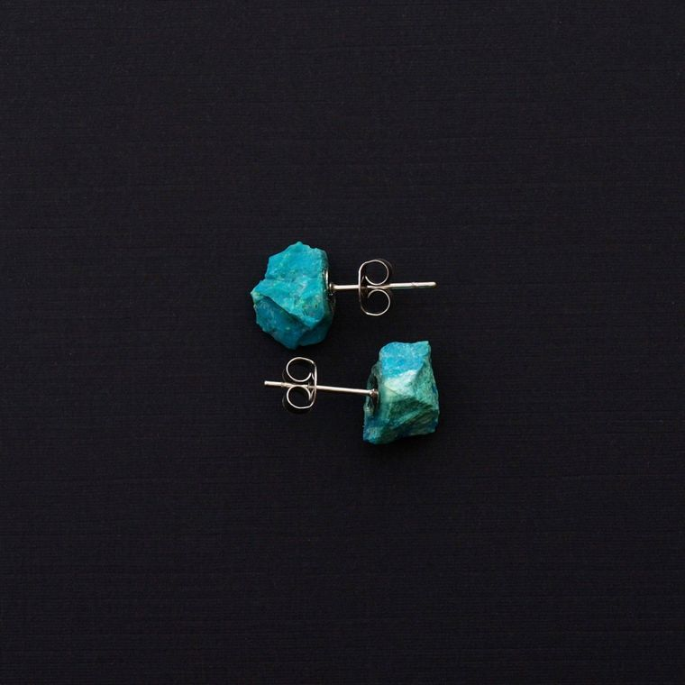 Women's Jewelry, Valentines Day Gift, Wedding Jewelry | RAW CHRYSOCOLLA CHUNK EARRINGS - Minter and Richter Designs