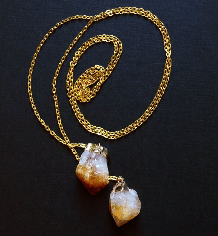 Bridal jewelry - Necklace | RAW GOLD CITRINE CRYSTAL WRAP LARIAT NECKLACE