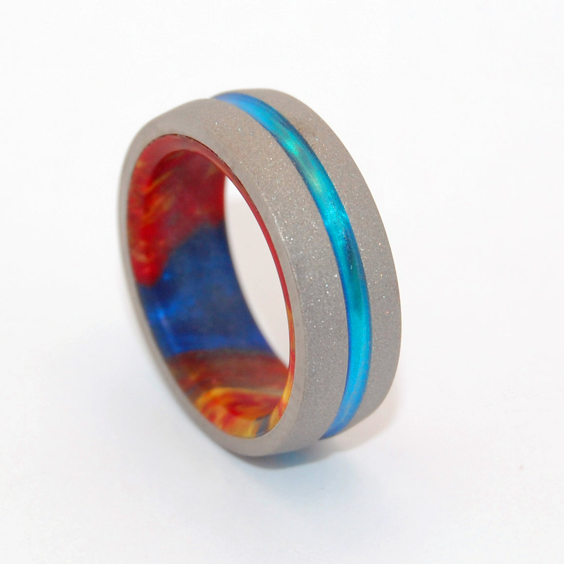 Lava Burst Explosion | Hand Crafted and Hand Anodized Titanium Wedding Ring