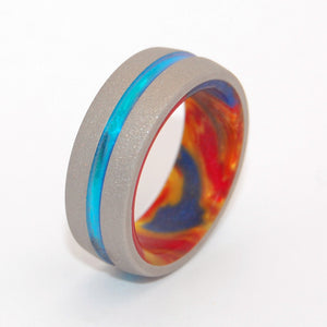 LAVA BURST EXPLOSION | Lava Burst Resin & Titanium - Unique Wedding Rings set - Minter and Richter Designs