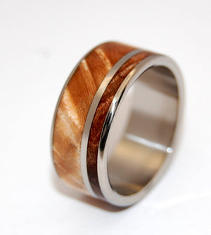 TWO SOLITUDES | Dark Maple Wood & Light Maple Wood Unique Wooden Wedding Rings - Minter and Richter Designs