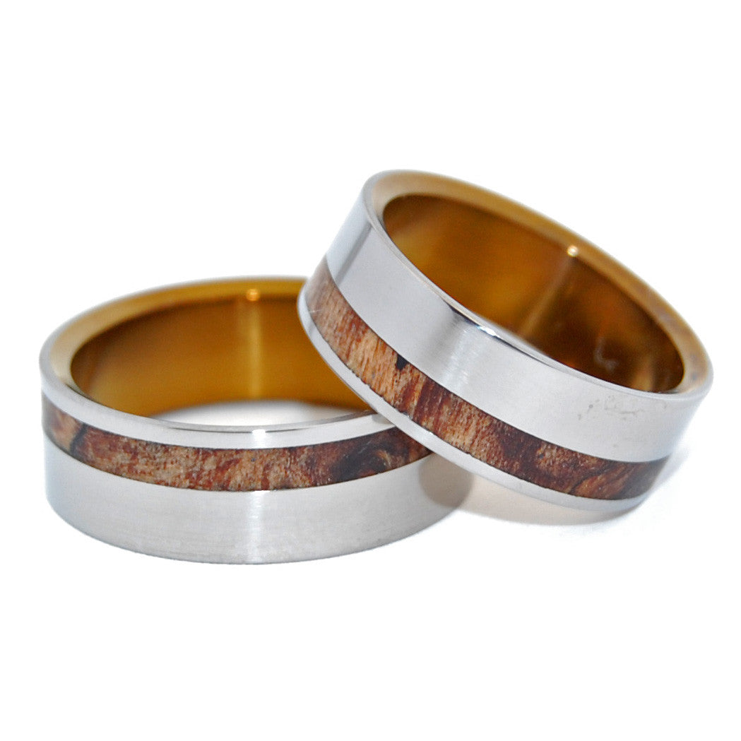 SILVER FAUN MAPLE | Maple Wood & Titanium - Unique Wedding Rings - Wedding Rings Set - Minter and Richter Designs