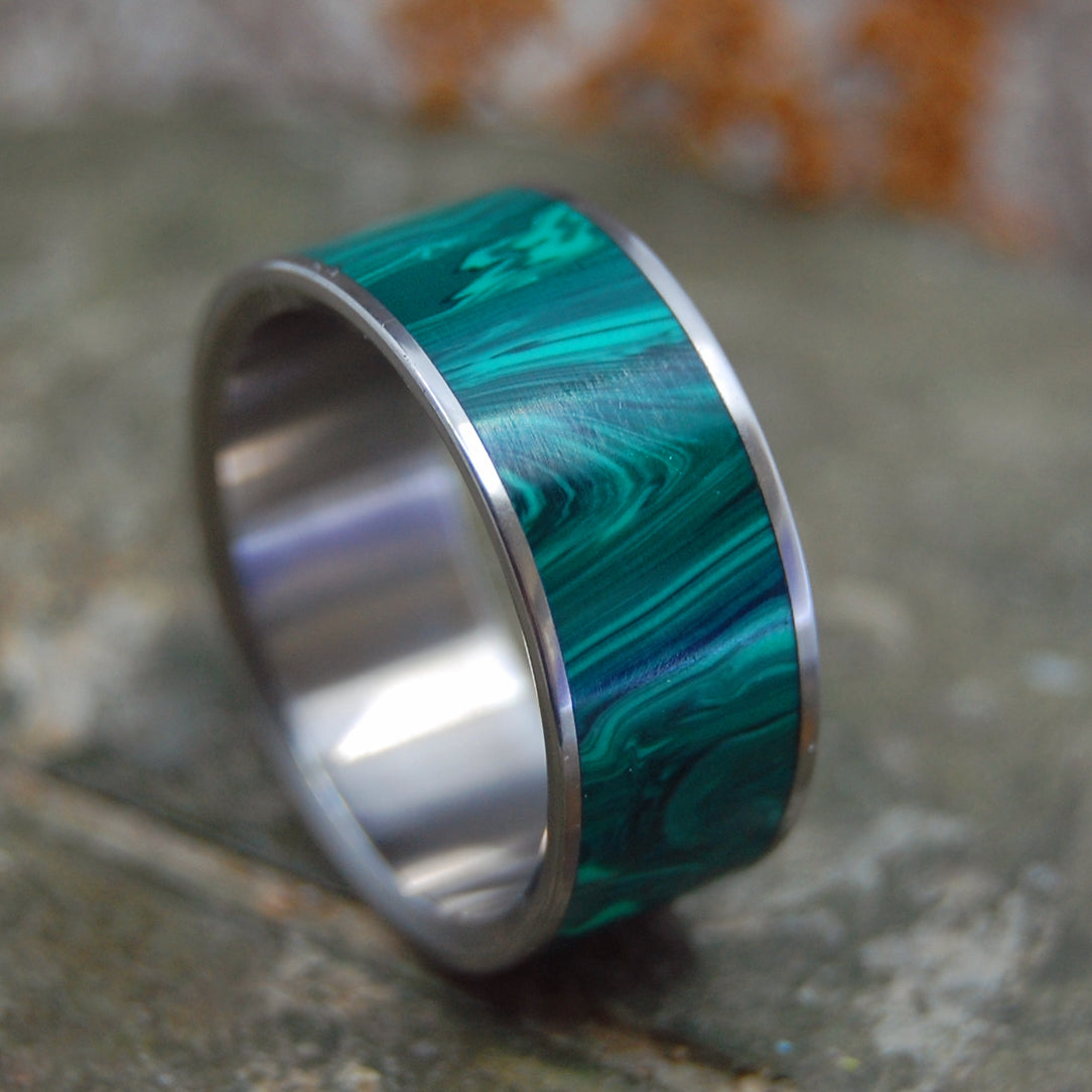 Malachite Stone - Titanium Wedding Ring | ONLY LIGHT CAN DRIVE OUT DARKNESS - Minter and Richter Designs