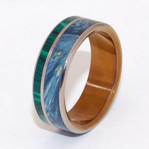ANTIGONE | Malachite Stone & Wood Titanium Wedding Rings - Minter and Richter Designs