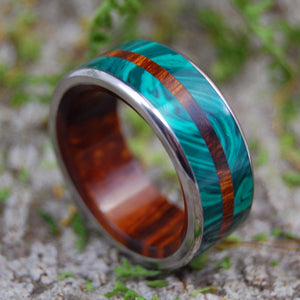 IN THE MIDST OF MALACHITE | Desert Ironwood & Malachite Stone Wedding Bands - Minter and Richter Designs