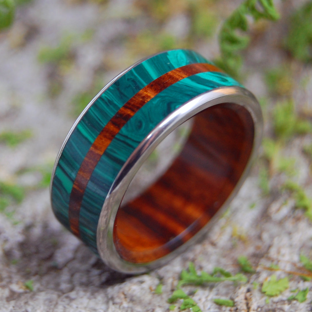 Mens Wedding Rings - Custom Mens Rings - Wood and Turquoise Rings | IN THE MIDST OF MALACHITE
