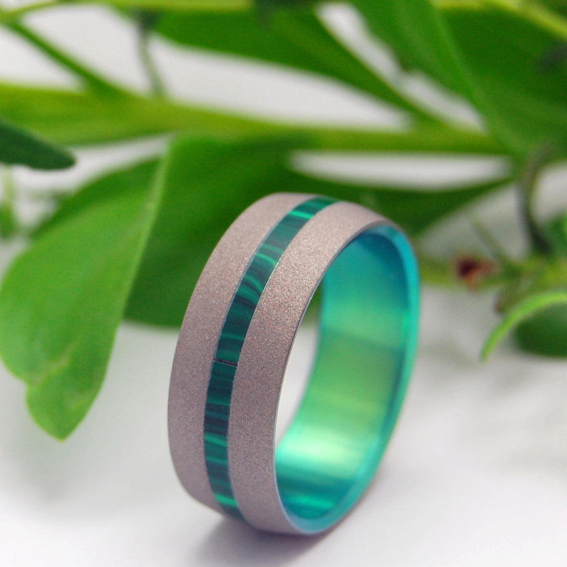Dashing Spring | Stone and Hand Anodized Titanium Wedding Ring
