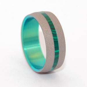 Dashing Spring | Stone and Hand Anodized Titanium Wedding Ring - Minter and Richter Designs