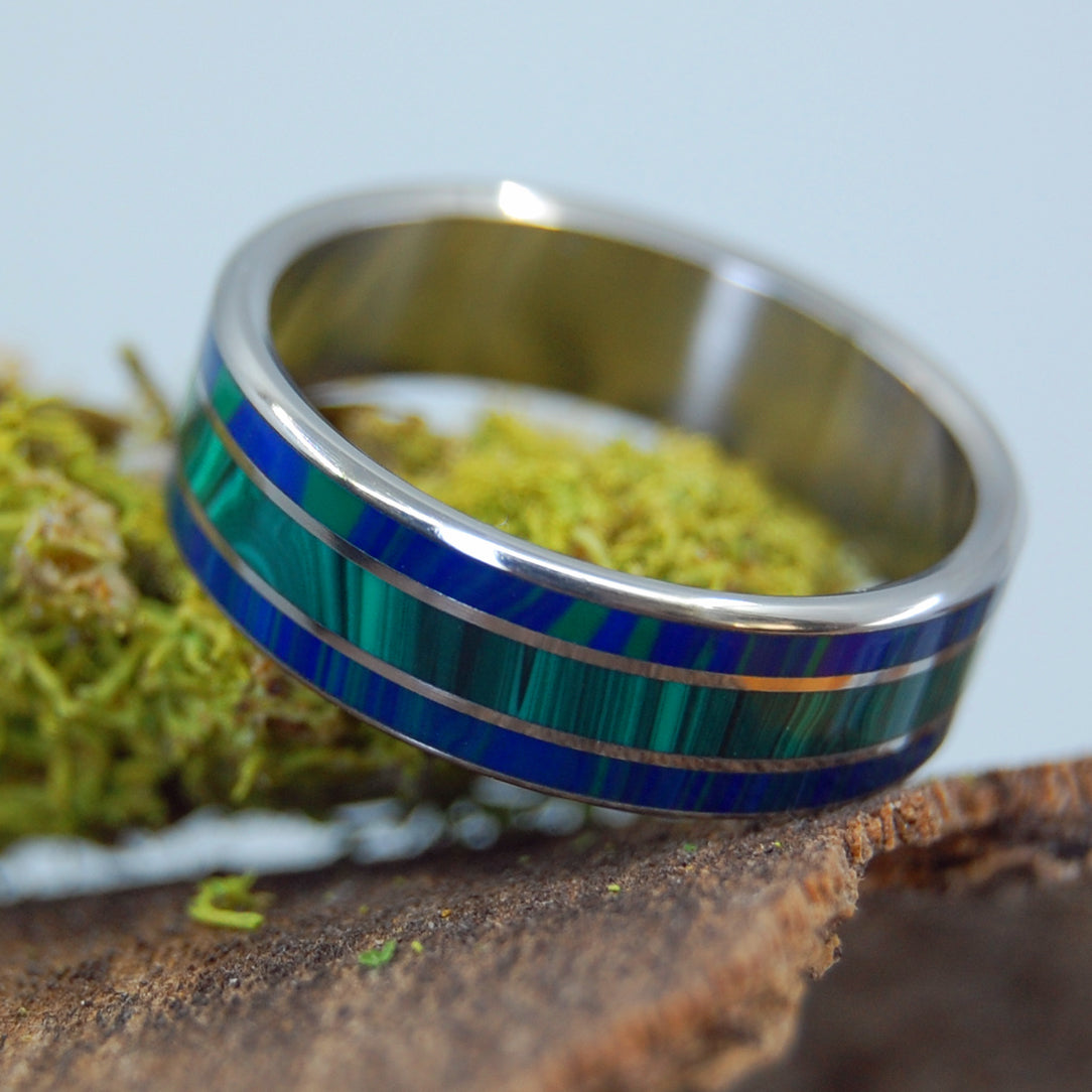 TWIN SPIRES | Malachite Stone Titanium Wedding Rings - Minter and Richter Designs