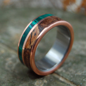 COPPER LIGHT | Titanium, Spalted Maple & Malachite Stone Handcrafted Wedding Bands - Minter and Richter Designs