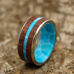 Mens Wedding Rings - Custom Mens Rings - Wood and Stone Wedding Rings | MAN FROM THE SEA
