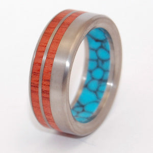 Meant To Be | Turquoise and Wood - Titanium Wedding Ring