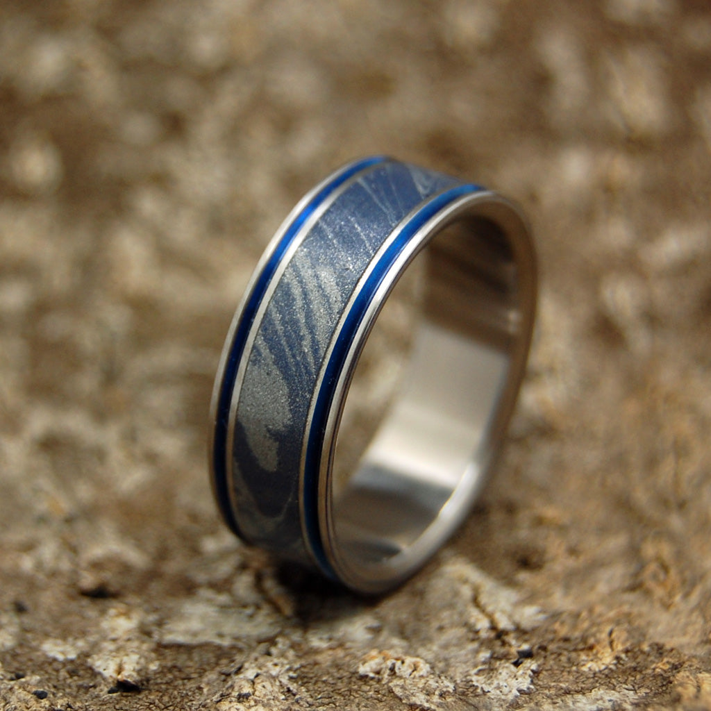 Mens Wedding Rings - Custom Mens Rings - Mokume Gane and Titanium Wedding Ring | MERLIN