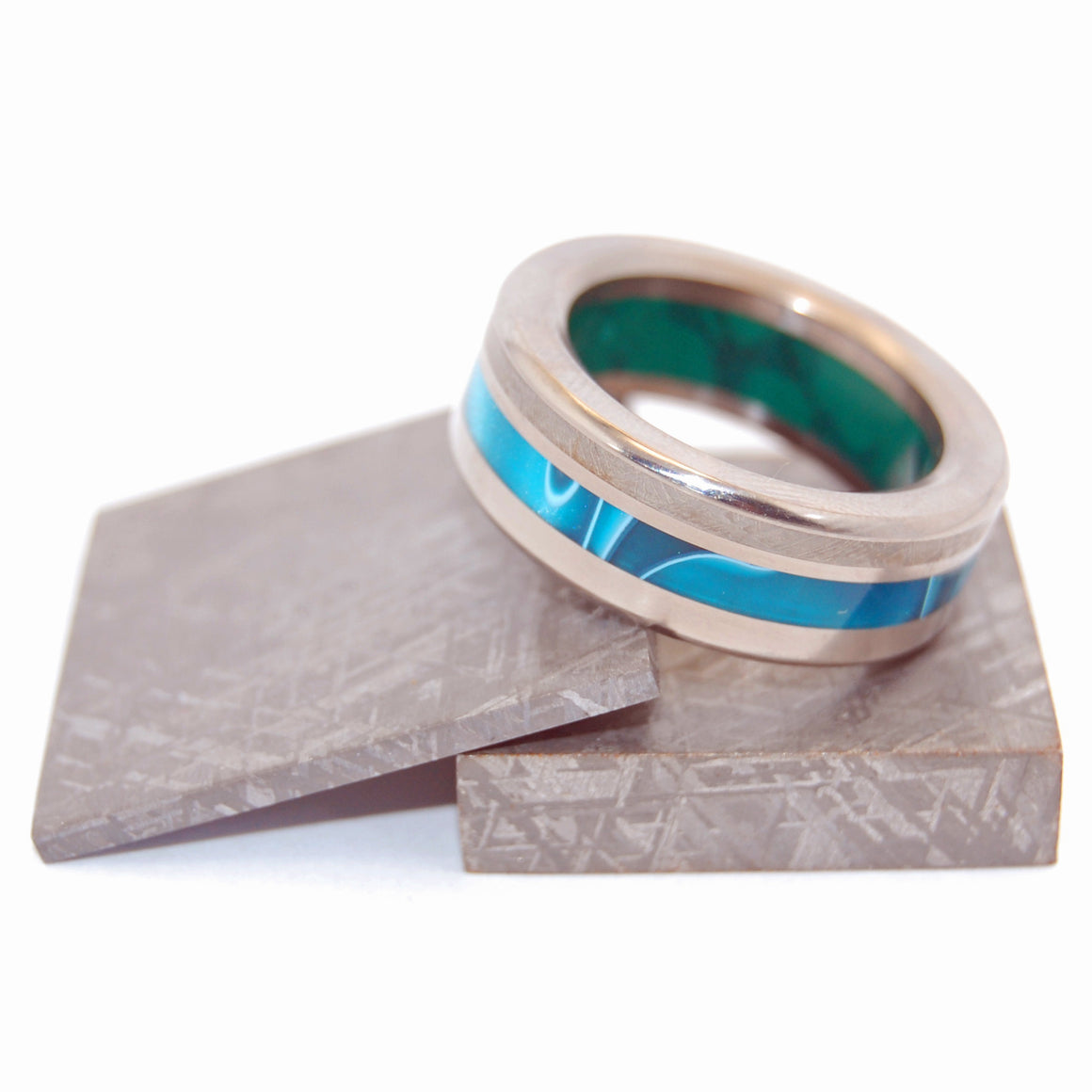 GO BOLD OR GO HOME | Meteorite & Jade Stone & Aquatic Blue Resin Unique Wedding Rings - Minter and Richter Designs