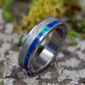 Men's Wedding Rings - Handcrafted Meteorite and Titanium Ring | OFSET BLUE INTERSPACE - Minter and Richter Designs