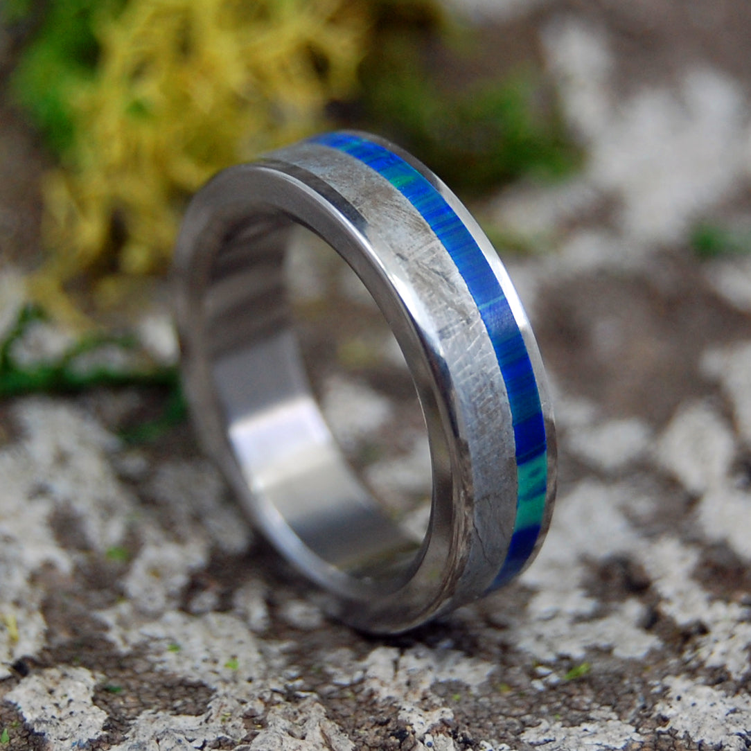 OFFSET BLUE INTER-SPACE | Handcrafted Meteorite & Stone Titanium Rings - Minter and Richter Designs