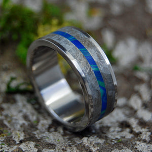 BLUE INTERSPACE | Meteorite & Stone Men's Women's Wedding Rings - Minter and Richter Designs