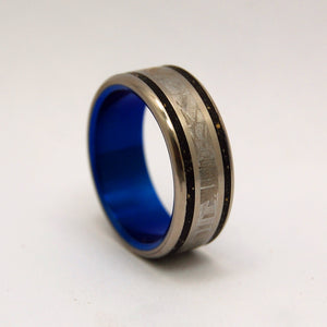 METEORITE MAN | Meteorite & Beach Sand Black Titanium Wedding Rings - Minter and Richter Designs