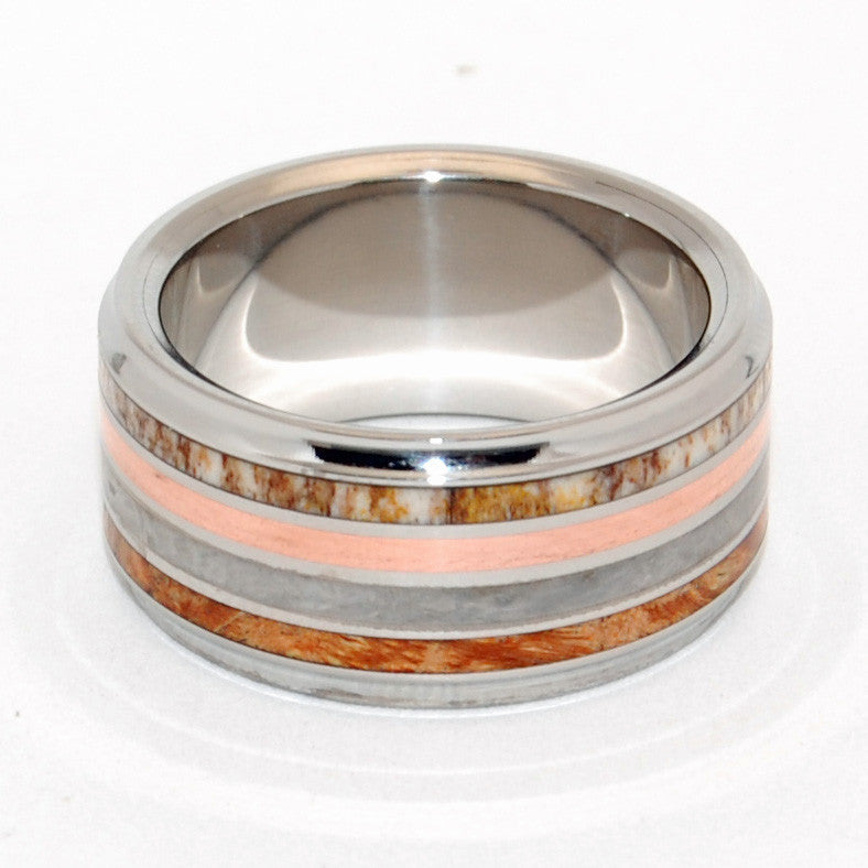 STRIKE THE MATCH | Meteorite Copper Brown Box Elder Wood & Moose Antler Titanium Men's Wedding Rings - Minter and Richter Designs