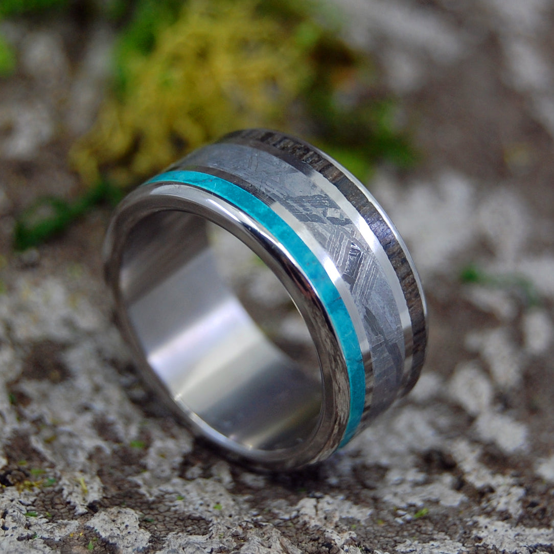 GOING FORWARD GONE | Handcrafted Meteorite & Wood Titanium Rings - Minter and Richter Designs