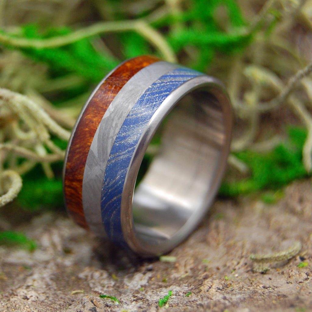 EARTH SPACE SEA | Meteorite & M3 & Desert Ironwood Titanium Men's Wedding Rings - Minter and Richter Designs
