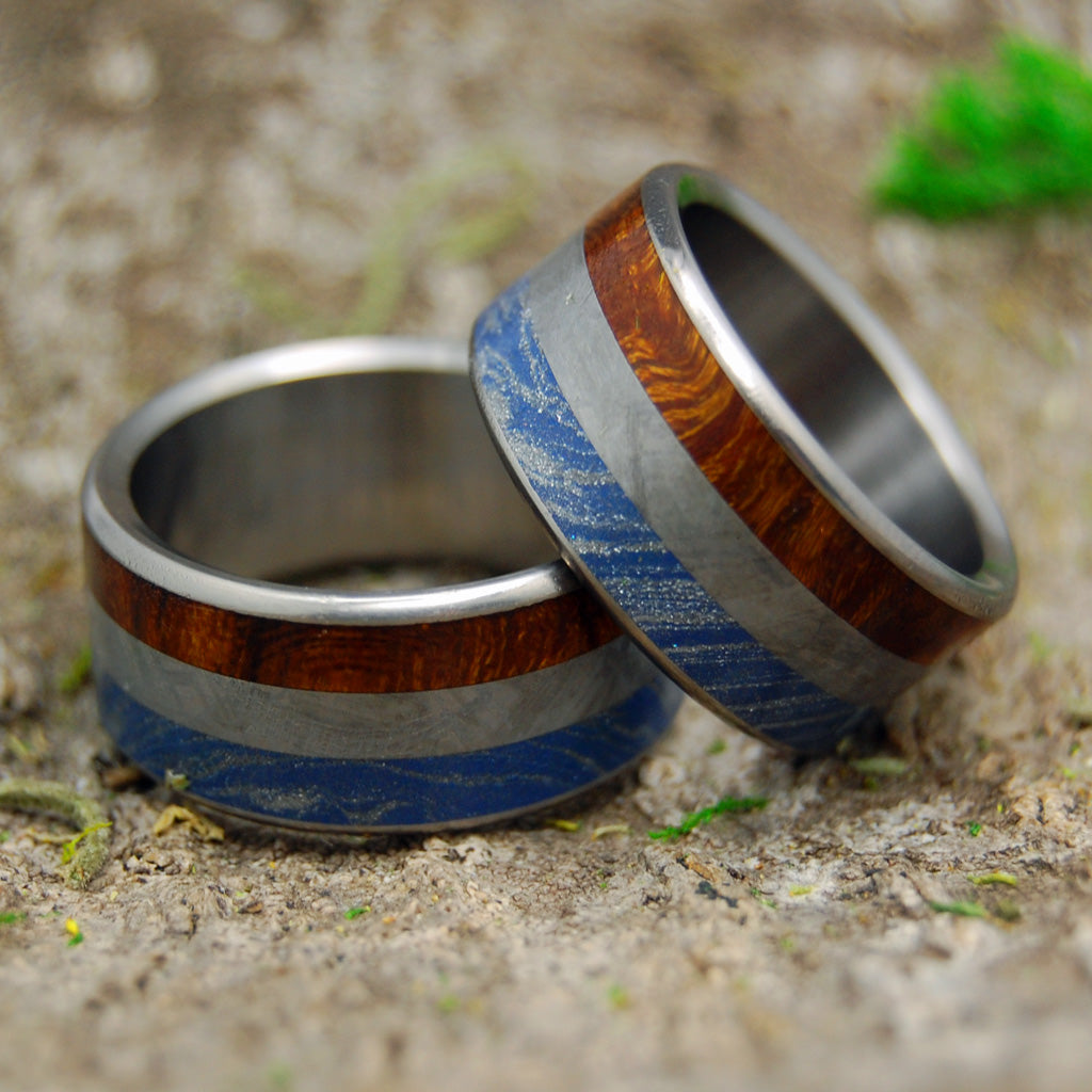 EARTH SPACE SEA | Meteorite & M3 & Desert Ironwood Titanium Men's Wedding Rings set - Minter and Richter Designs