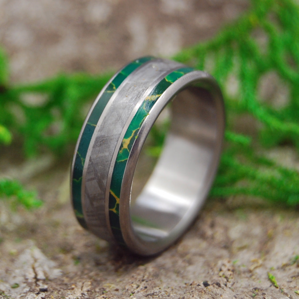 KING OF THE UNIVERSE | Meteorite & Egyptian Jade Titanium Men's Wedding Rings - Minter and Richter Designs