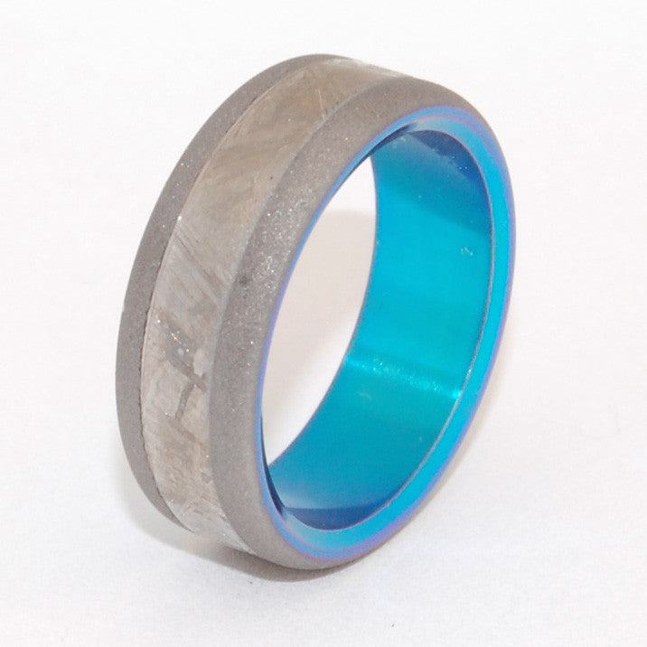 MOON LANDING | Meteorite & Turquoise Anodized Titanium Wedding Rings - Minter and Richter Designs