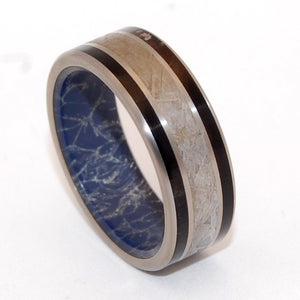 FORTE | Meteorite & Water Buffalo Horn Blue Silver Mokume Gane M3 Titanium Wedding Rings - Minter and Richter Designs