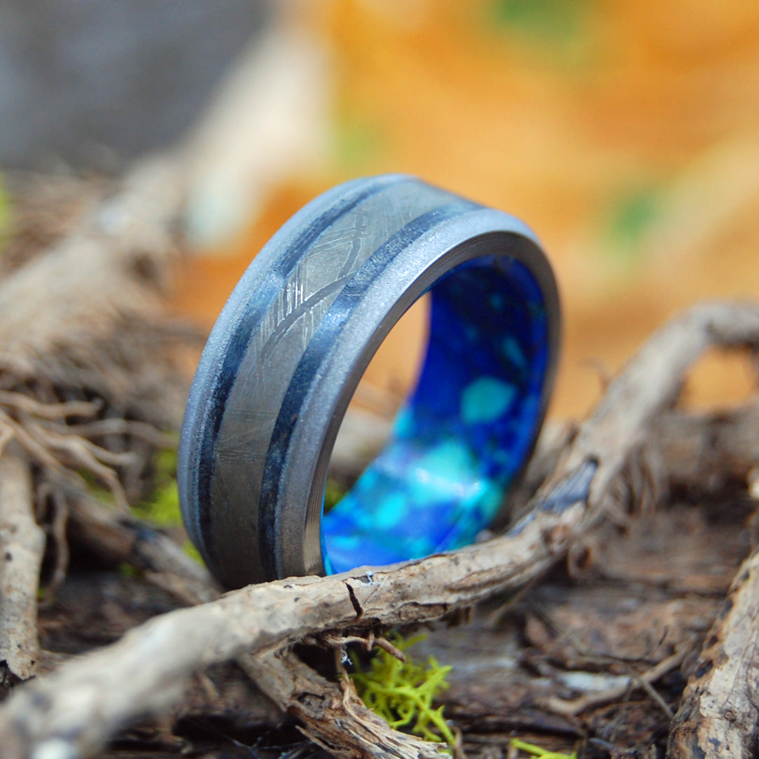 AS OLD AS TIME | Meteorite, T-Rex Tooth and Azurite Malachite Wedding Rings - Minter and Richter Designs