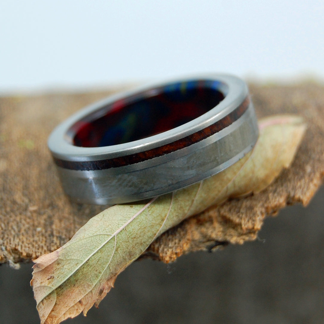 HOW THE WORLD BEGAN | Handcrafted Meteorite & Wood Titanium Rings - Minter and Richter Designs