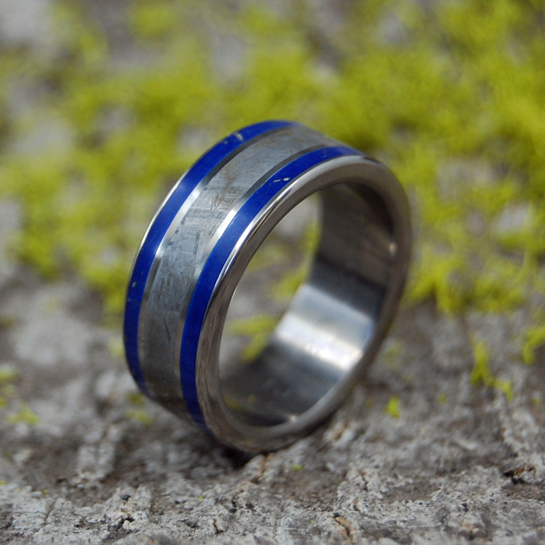 GIZA | Lapis Lazuli & Meteorite Titanium Wedding Rings - Minter and Richter Designs