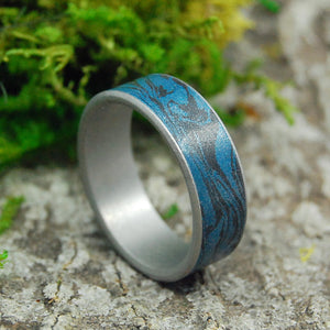 Titanium Wedding Ring - Mens Ring - Mokume Gane | MIDNIGHT RIDE