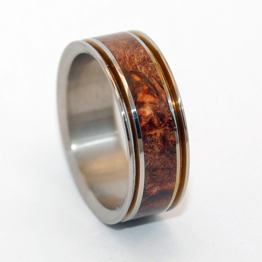 MIRACLES HAPPEN | Dark Maple Wood & Titanium - Unique Wedding Rings - Minter and Richter Designs