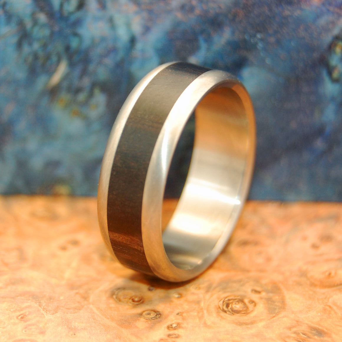 Tunde | African Ebony Wood and Titanium Wedding Ring - Minter and Richter Designs