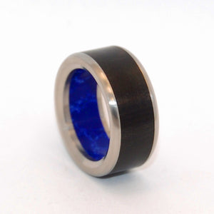 LION'S APPROVAL | Sodalite Stone, Ebony Wood & Titanium - Unique Wedding Rings - Minter and Richter Designs