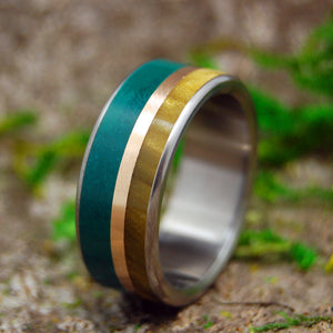 MONTANA SUMMER | Imperial Jade, Copper & Tiger Eye Titanium Men's Custom Wedding Rings - Minter and Richter Designs