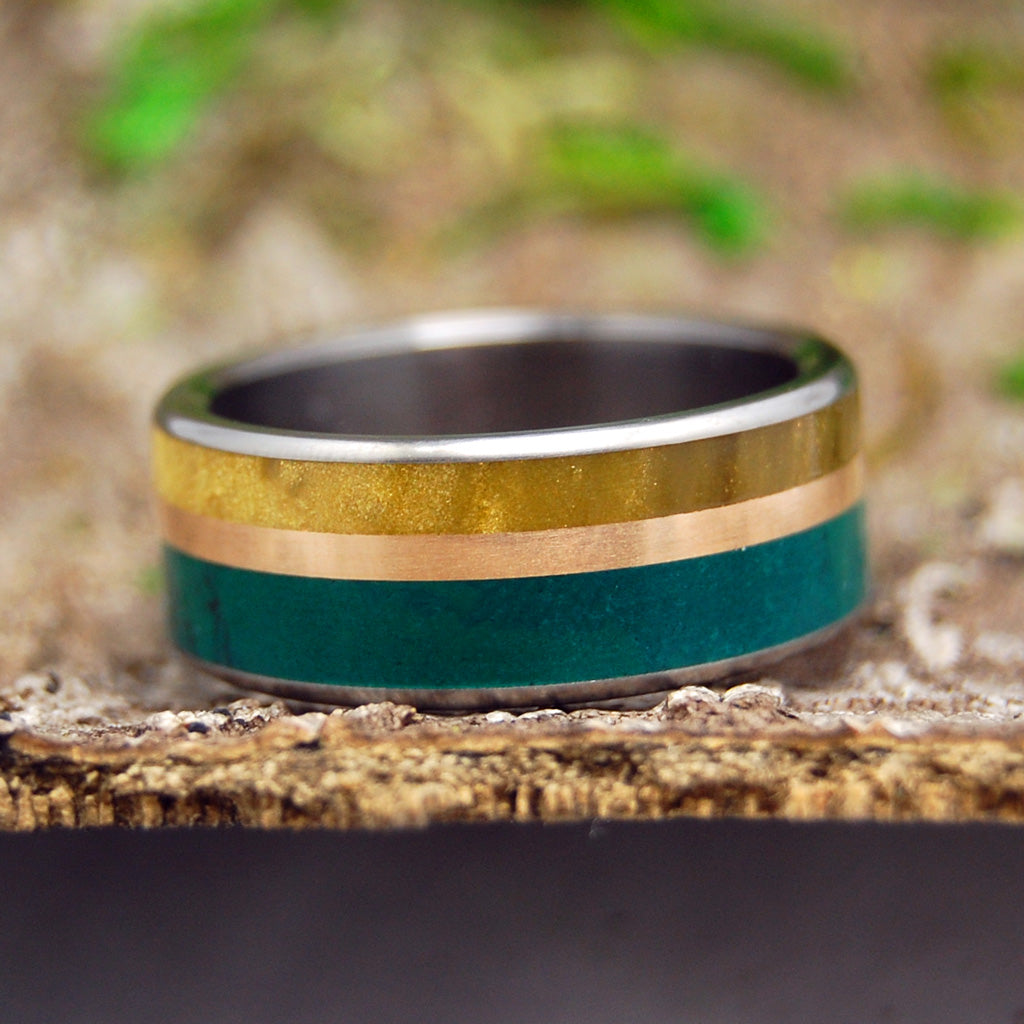 MONTANA SUMMER | Imperial Jade, Copper & Cattle Horn Titanium Men's Custom Wedding Rings - Minter and Richter Designs