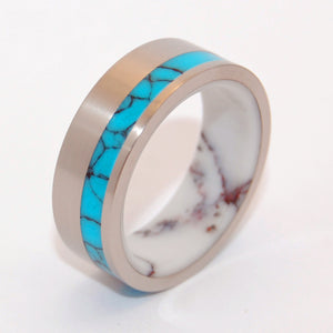 ONCE IN LIFETIME  | Turquoise Stone & Wild Horse Jasper Stone - Unique Wedding Rings - Minter and Richter Designs