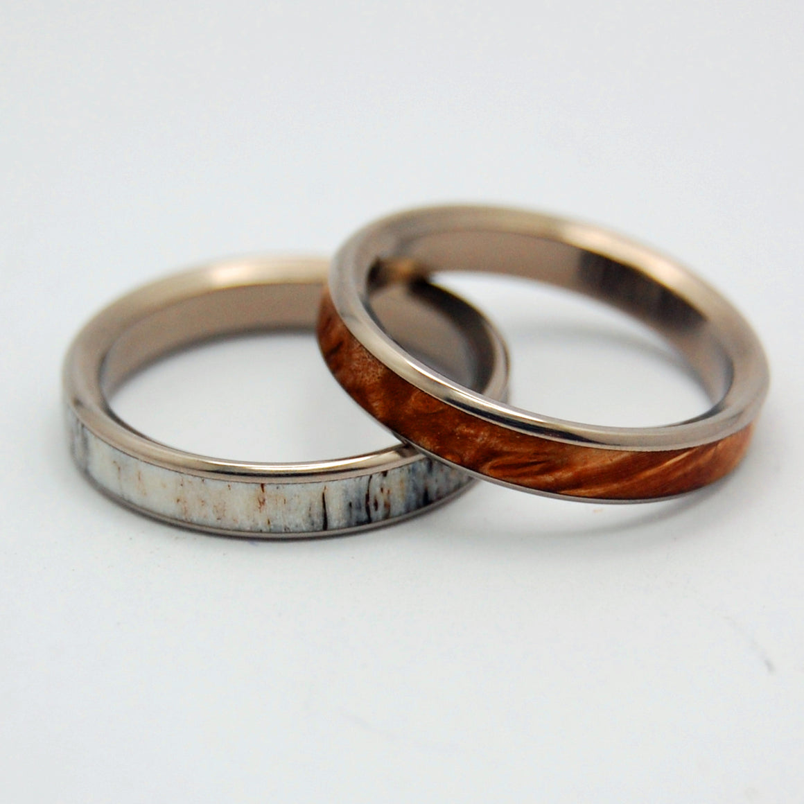 FOREST FRIENDS | Moose Antler & Maple Wood - Wooden Wedding Rings Set - Minter and Richter Designs