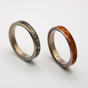 Forest Friends | Antler and Wood Wedding Ring Set