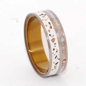 OPHIR | Crushed Canadian Forest Stones & Moose Antler - Antler Wedding Rings - Minter and Richter Designs