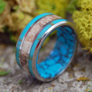 MOOSE OFF MAINE | Turquoise & Moose Antler Wedding Rings - Minter and Richter Designs