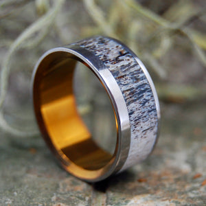 Mens Ring - Antler and Titanium Wedding Ring | FOUND MOOSE ANTLER BRONZE