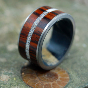 MOOSE ON THE MOORS | Antler & Wood Titanium Wedding Ring - Minter and Richter Designs