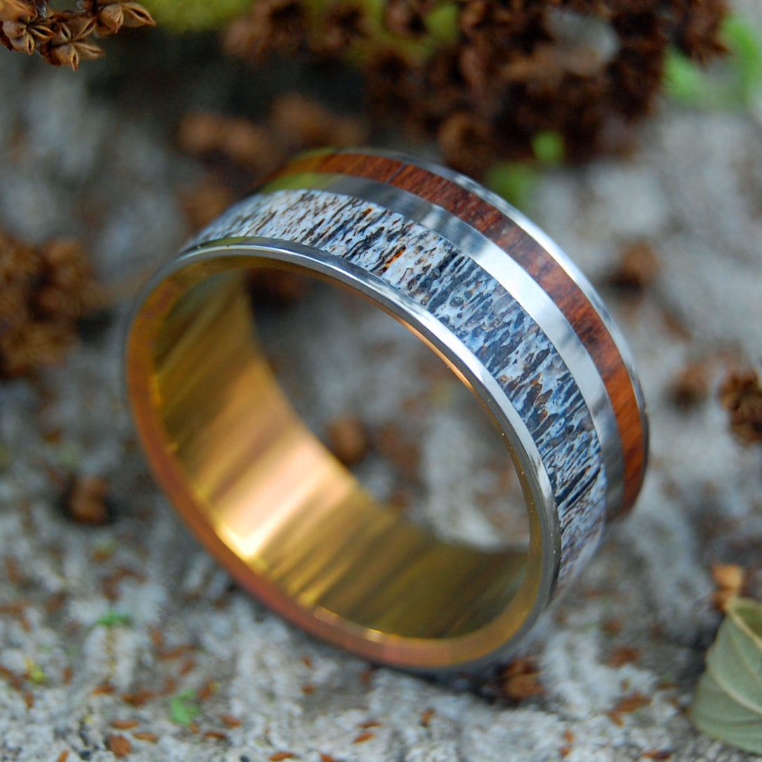 MOOSE AT SUNSET | Antler & Wood Titanium Mens Rings - Minter and Richter Designs