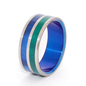 Jade and blue marbled opalescent unique, titanium wedding ring with blue anodized interior