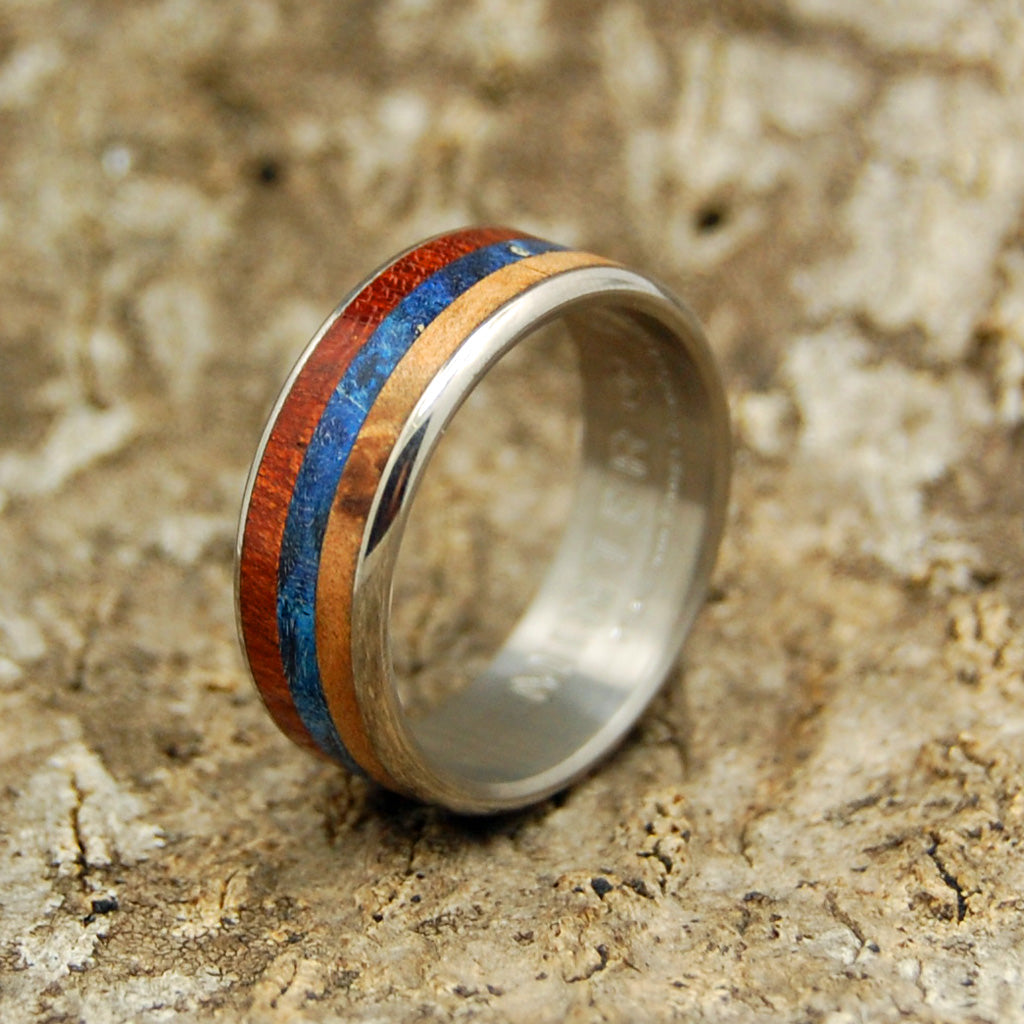 DUKHOV! | Bloodwood, Blue Box Elder Wood & Light Orange Maple Titanium Wedding Ring - Minter and Richter Designs