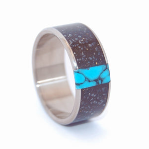 NO ONE ELSE | Icelandic Lava, Turquoise Stone Men's Wedding Rings - Minter and Richter Designs